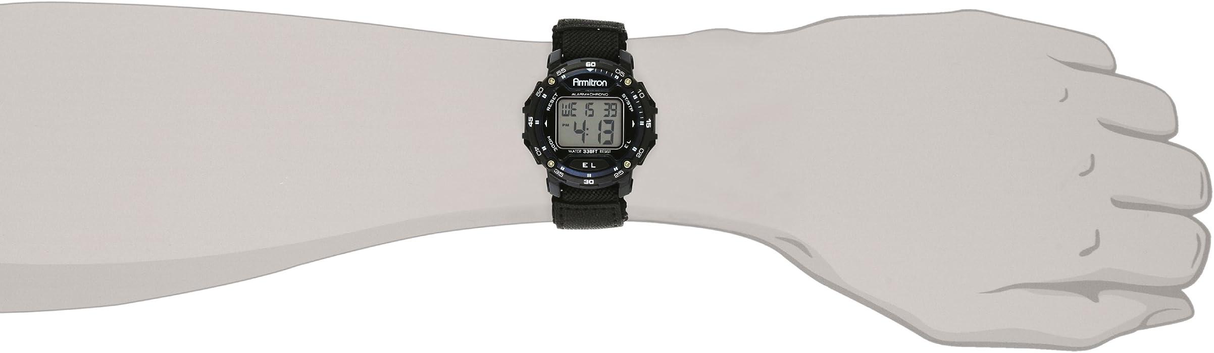 Armitron Sport Unisex 408291BLU Navy Blue Accented Digital Chronograph Black Nylon Strap Watch