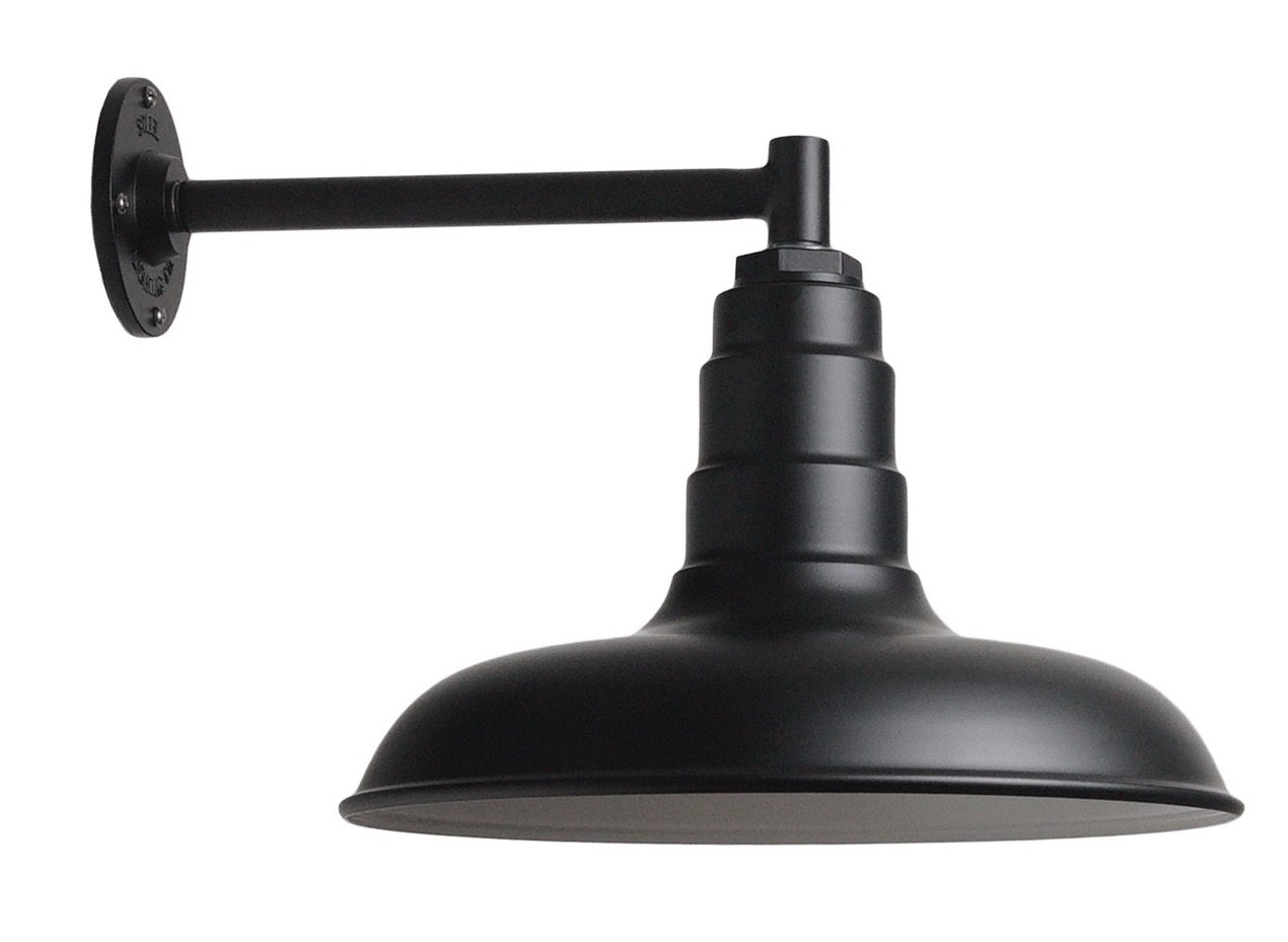 The Classic Barn Light Kit | Matte Black 14 Inch Classic Steel Shade | 11 Inch Short Stem Wall Mounted Steel Arm Barn Light | Made in America
