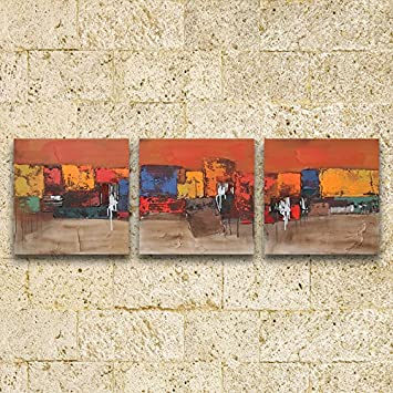 Hand Painted Moderne Mode Abstrakte Malerei Moderne Home Hotel Wohnzimmer  Schule 3 Gemälde Rahmenlose Lackiert