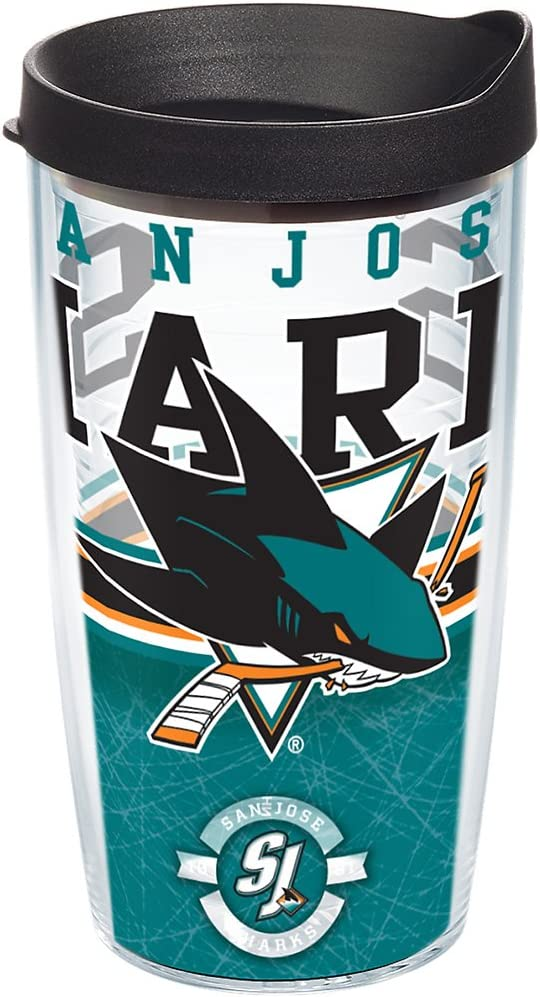 Tervis 1165407 NHL San Jose Sharks Core Tumbler with Wrap and Black Lid 16oz, Clear