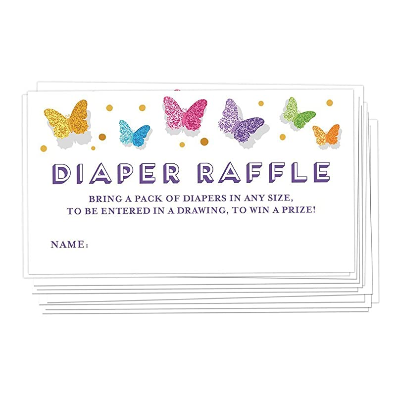 Rustic Floral Diaper Raffle Printable Butterfly Baby Shower Raffle Cards Butterfly Diaper Raffle Game Printable Instant Download Wreath C8