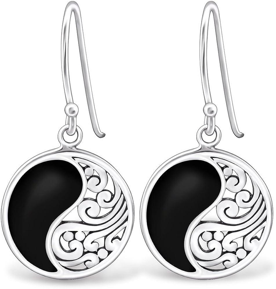 Memoria joyas® redondo negro pendientes de plata de ley 925de plata–epoxi pendientes plata peso 2,55g