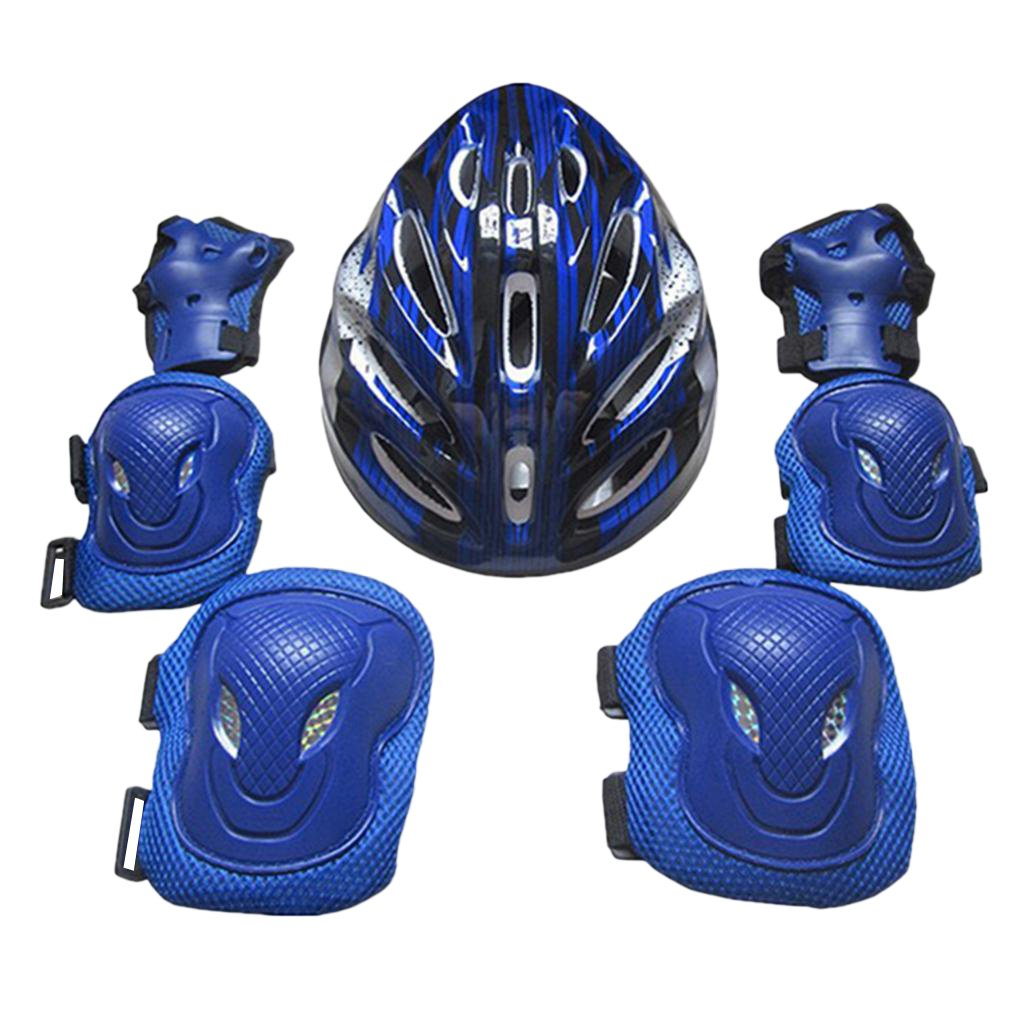 Flameer Adults Protection Kit Skateboard Helmet Knee Elbow Palm Pad Set Comfortable Safety Guard Gear for Ice Skating Inline Skating - Blue, 26x20x13cm