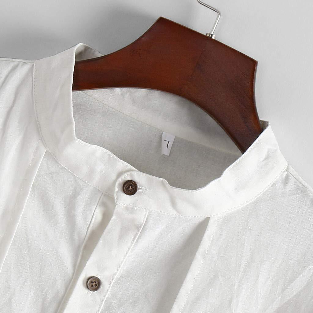 Amazon.com: MIS1950s Camisas de algodón y lino para hombre ...