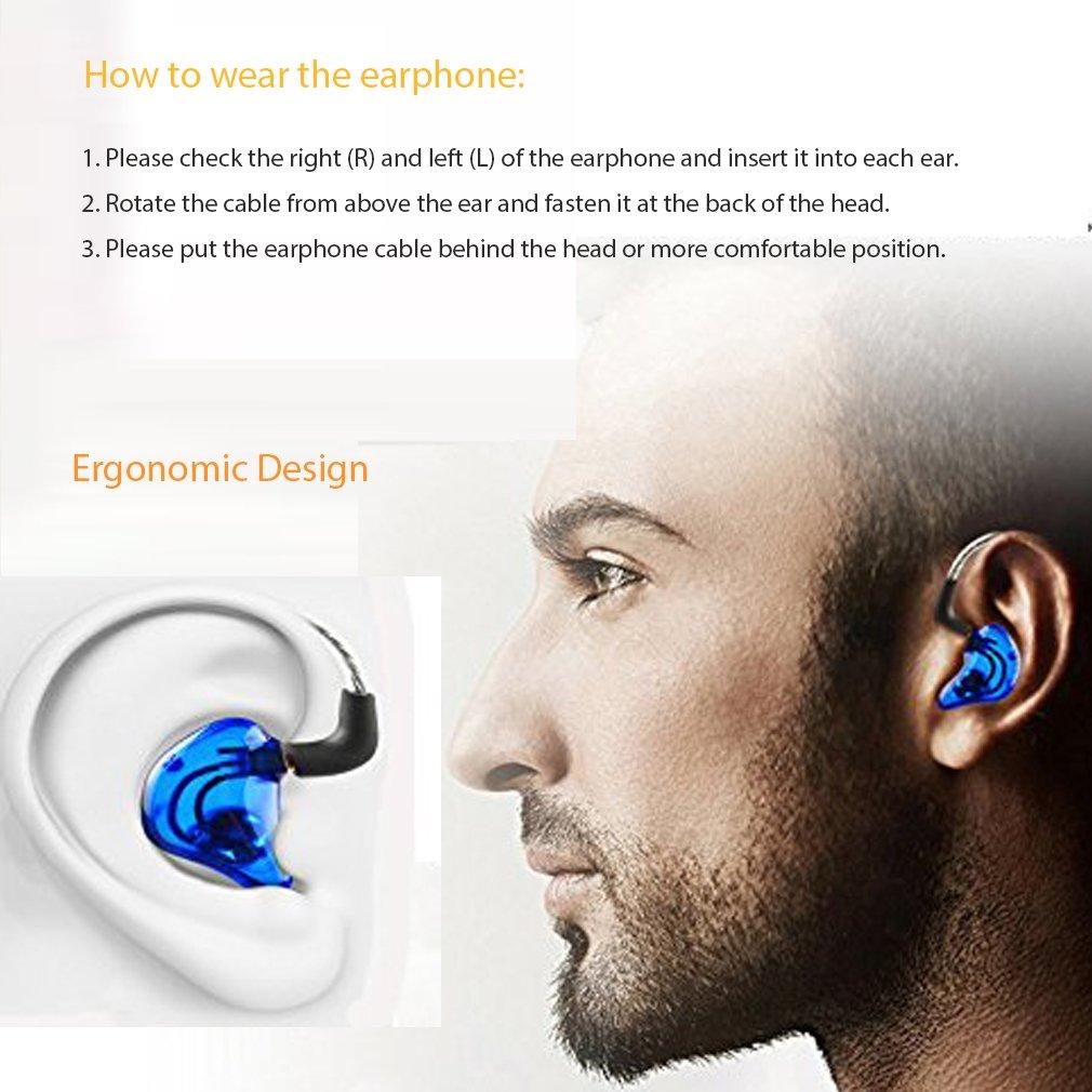 OKCSC deporte Hifi auriculares in-ear auriculares con aislamiento ac/ústico con din/ámico microdriver con MMCX cable desmontable para Samsung Android tel/éfonos azul