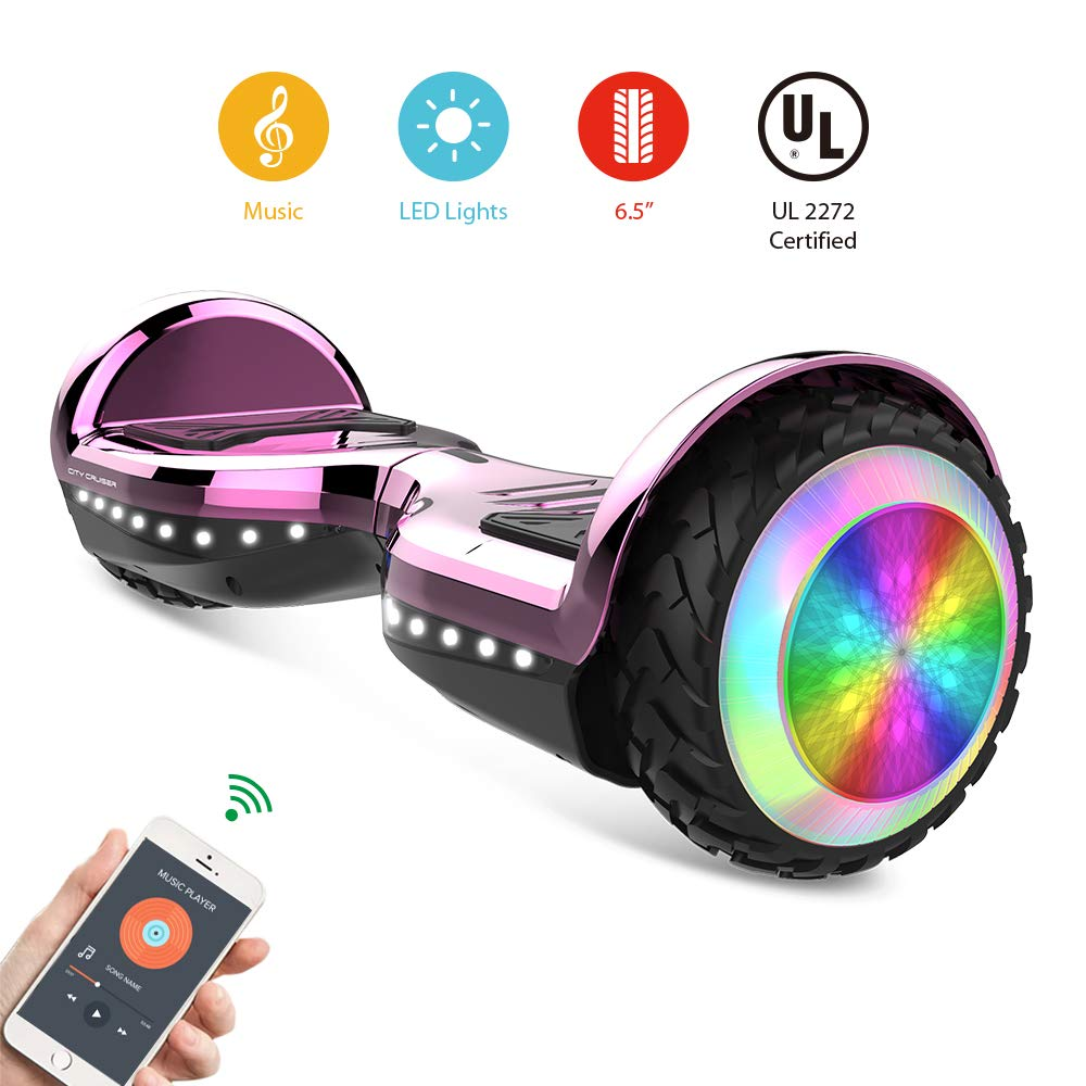 CITY CRUISER Hoverboard with Bluetooth Speaker, LED Light by UL 2272 Certified Best Gift for Kids Pink