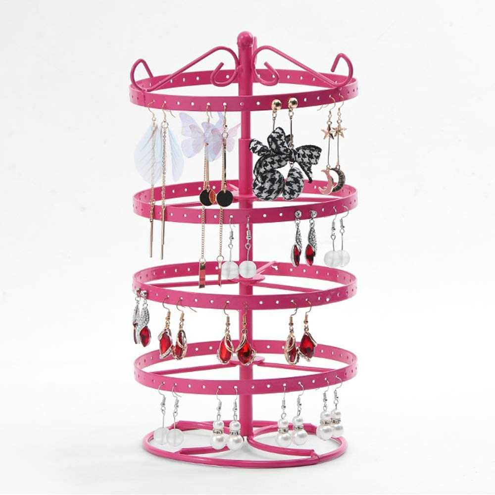 12.6x6.3 Inch Creatiee Upgraded 176 Holes Exquisite Jewelry Display Stand Necklace Rack Holder Black 4 Tiers Metal Rotating Earring Organizer Hanger