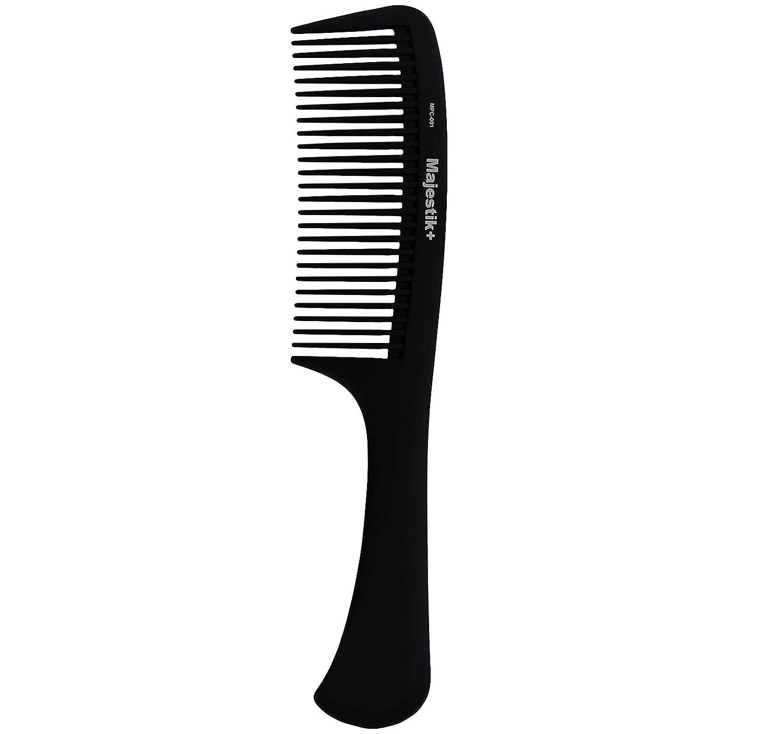 Peine de pelo - un mango profesional de fibra de carbono destello peine de Majestik +, fuerza y durabilidad, dientes grandes, negro (MPC-001), con libre de productos de PVC PVC fuerza y durabilidad JLS Personal Care Ltd.