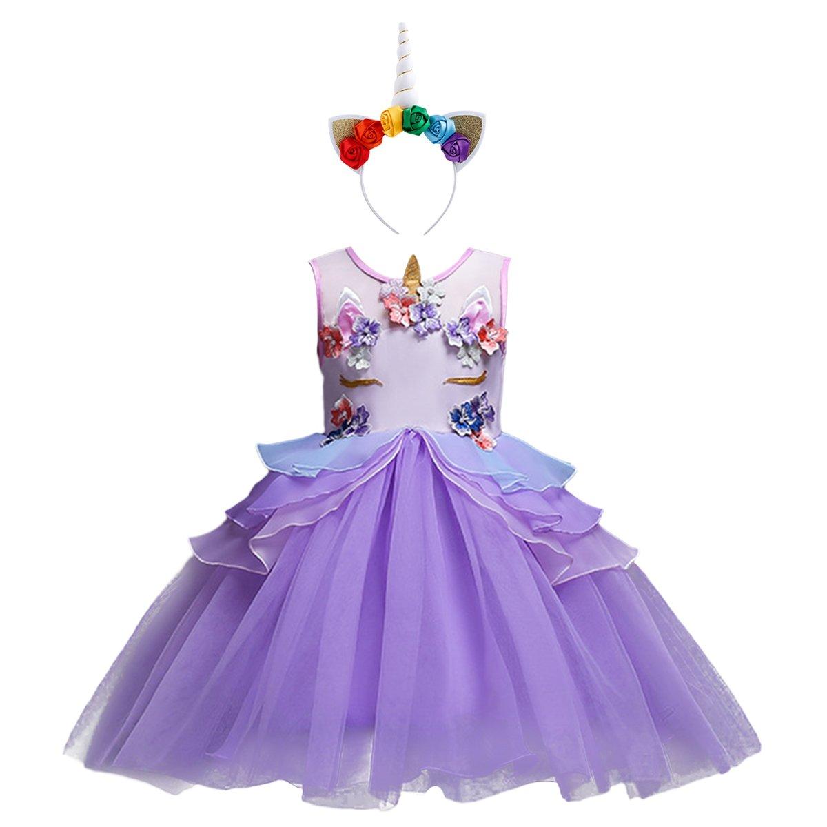 Niña Vestido 2PCS Princesa Unicornio Disfraz de Verano Cosplay Tutu ...