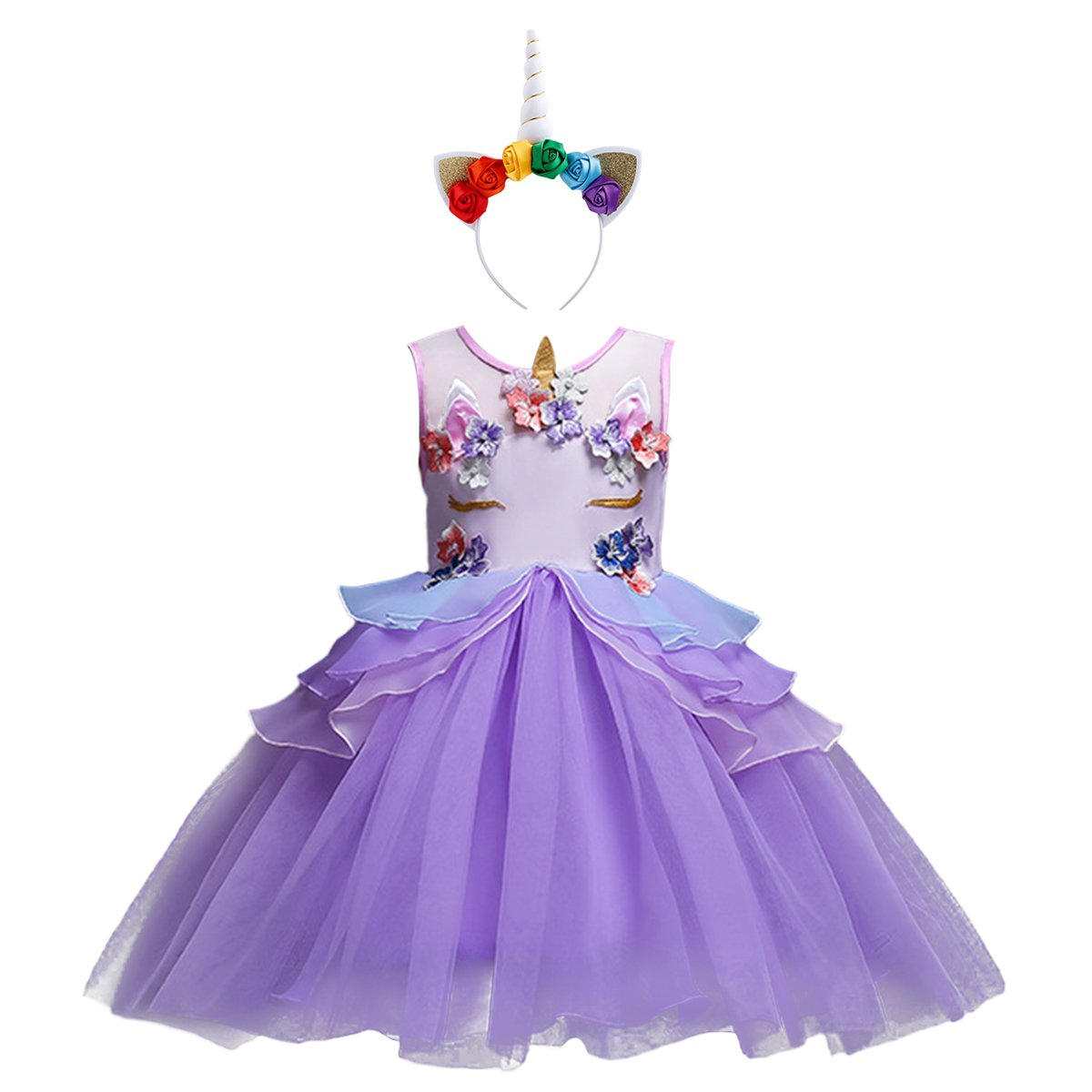Baby Kids Girls Toddler Unicorn Dress Sleeveless Princess Tulle Dress Wedding Birthday Party Gown Performance Costume S# Purple 6-7 Years