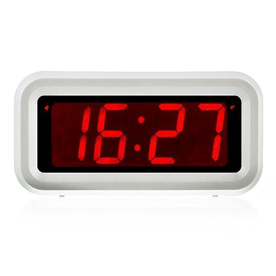 Kwanwa - Reloj despertador digital con pantalla led (blanca), con un diseño para el hogar pequeño y fácil de llevar,estilo vintage, funciona con pilas y ...