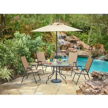 Outdoor 6 Piece Folding Patio Dining Furniture Set With Umbrella, Seats 4