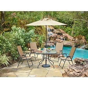 Outdoor 6 Piece Folding Patio Dining Furniture Set With Umbrella, Seats 4