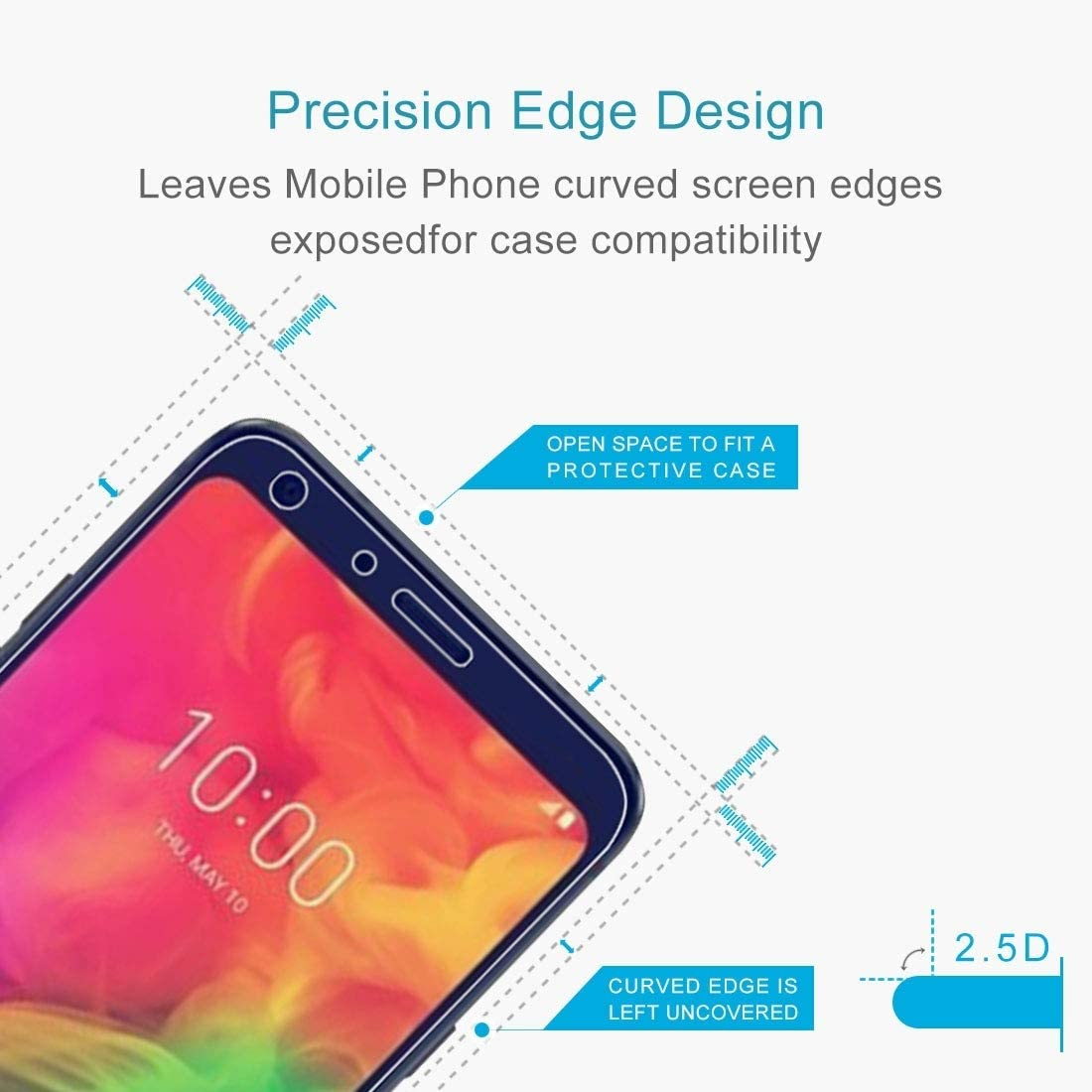 100 PCS 9H 2.5D Tempered Glass Film for LG Q7 Clear YINZHI Screen Protector Film