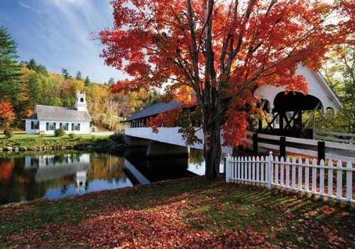 Covered Bridge Crossing River to Church, New Hampshire - 1500 Piece Jigsaw Puzzle (Extra Large Size: 23