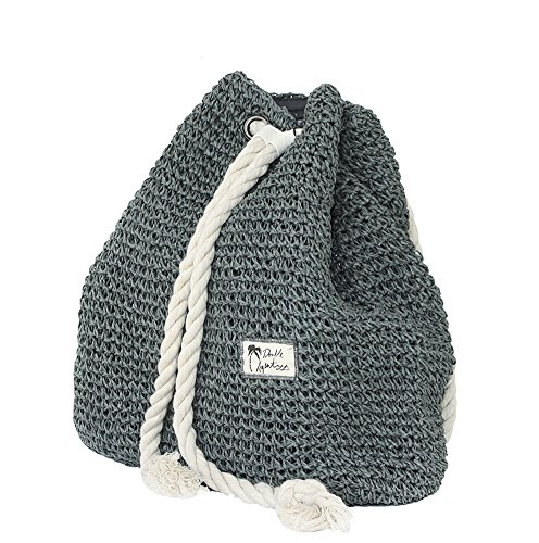 Tonwhar Campus Fashion Straw Shoulder Bag Beach Backpack Purse (Gray)