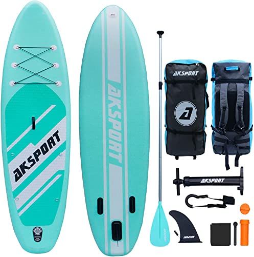 AKSPORT 10 6 33 6 Inflatable Stand Up Paddle Board with Premium Non-Slip Deck,Travel Backpack,Adjustable Paddle,Pump,Leash for Youth Adult Ultra-Light Surfing ISUP