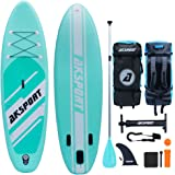 """AKSPORT 10'6""""×32""""×6"""" Inflatable Stand Up Paddle Board with Premium Non-Slip Deck,Travel Backpack,Adjustable Paddle,Pump,Leash"""