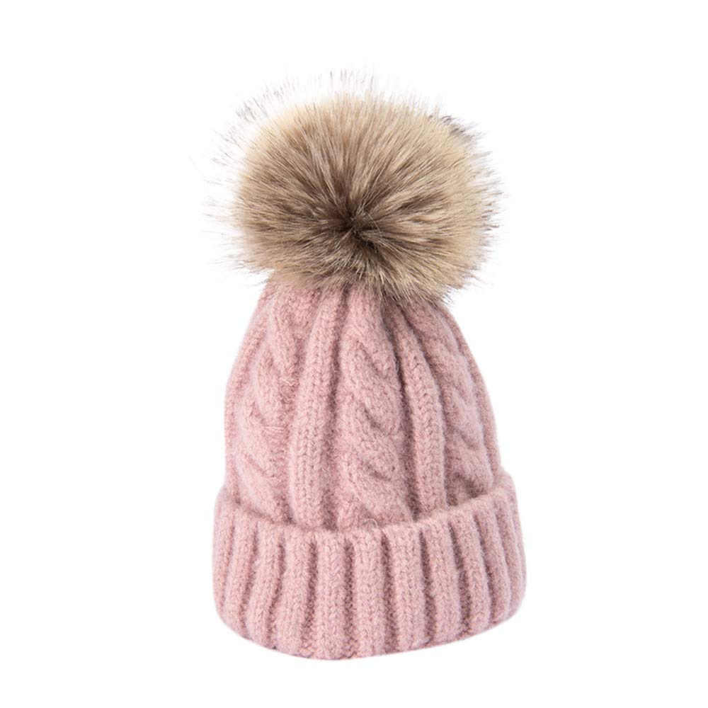 Gbell Baby Winter Knitted Hats Detachable Pom Pom Ball Baby Infant Warm Thickening Plus Velvet Hat Warm Soft Caps Beanies for Toddler Boys Girls