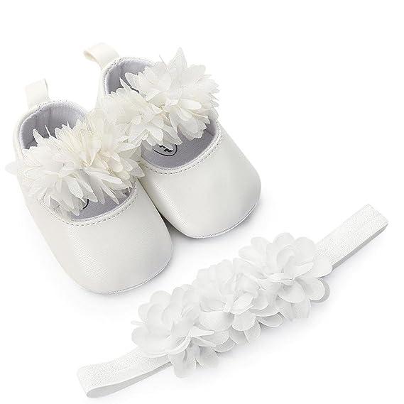 Zapatos de Bebe Niñas Fossen Recién Nacido Niñas Primeros Pasos Bordado Corazón Patrones Y Encaje Diadema de Flores: Amazon.es: Ropa y accesorios