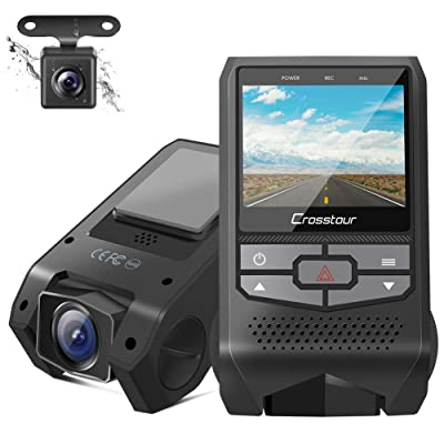 Crosstour Dual Dash Cam Front and Rear FHD 1080P Mini in Car Camera with Parking Monitoring,G-Sensor,WDR,Night Vision, Motion Detection, Loop Recording, Screen Rotation (CR600): Electronics