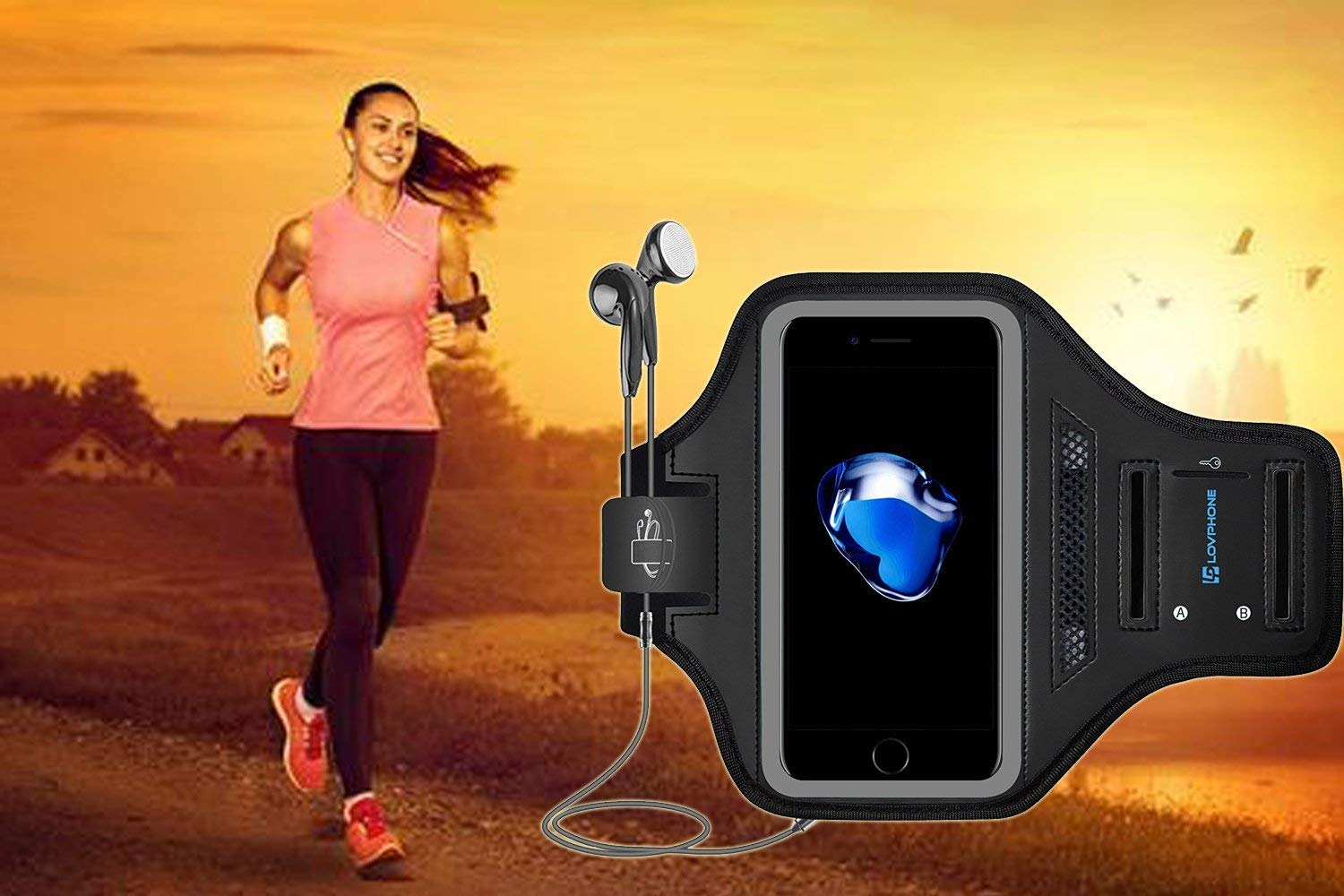 LOVPHONE Man/Women Running Sport Armband for iPhone 7/8 Plus Suitable for Gym Workout w/Kickstand Key Bag Earbuds Holder Card Slot Case, Water Resistant (Gray)
