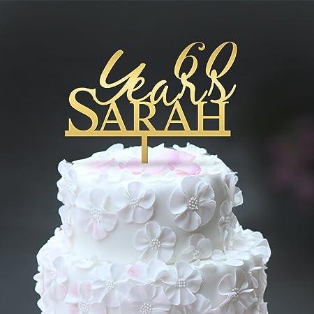 Decoración para tarta de 60 años con nombre personalizable ...