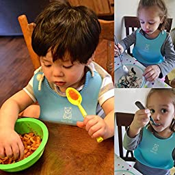 Lizber Waterproof Baby Bibs Food Catcher 3 PCS (Blue, Yellow, Green) Roll - up Deep Pocket Soft Adjustable Neckband