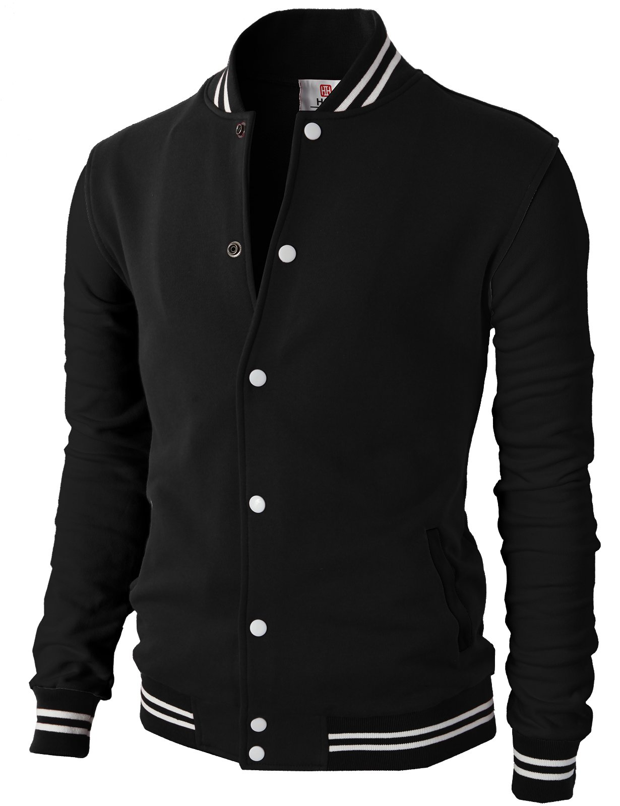 H2H Mens Premium Slim Fit Bomber Button Front Cotton Lightweight Varsity Baseball Jacket JetBlack US XL/Asia 2XL (CMOJA083) by H2H