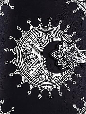 Sac à main livre noir lune henné imitation cuir, gothique rock