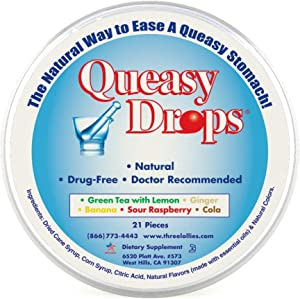 Three Lollies Queasy Drops | Assorted for Nausea Relief |Green Tea with Lemon | Ginger | Banana | Sour Raspberry | Cola | 21 Drops