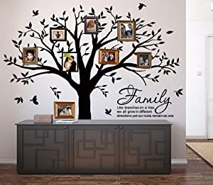 Family Tree Wall Decal Quote- Family Like Branches On A Tree Lettering Tree Wall Sticker for Bedroom Decoration (Black)
