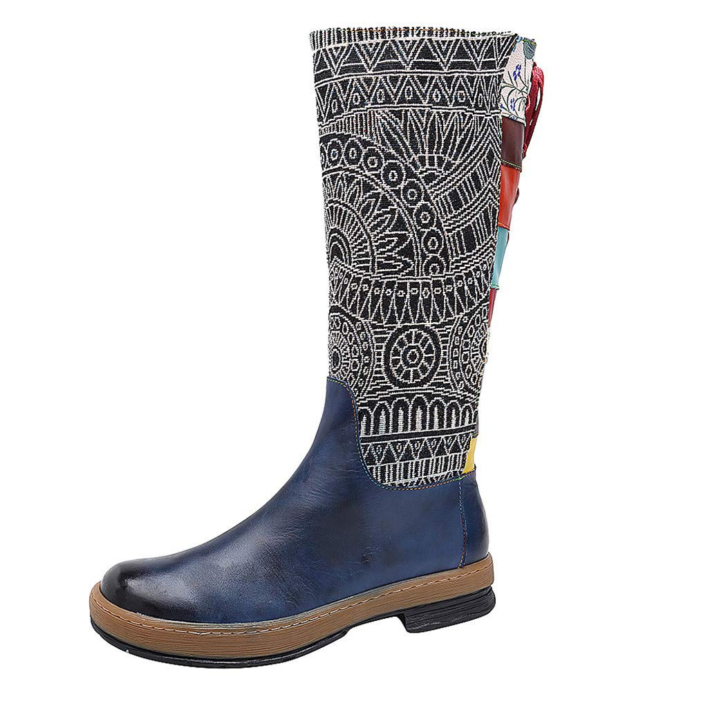 HENWERD Women's Fashion Boho Embroidery Knee High Boots Stylish Comfortable Booties (Blue,9 US) by Henwerd boots
