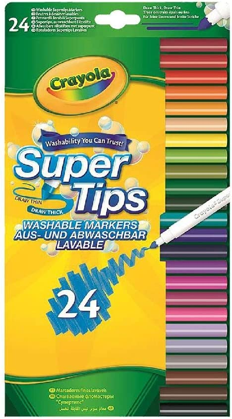 CRAYOLA 58-5057-E-000 SuperTips Washable Felt Tip Colouring Pens, Pack of 24, Multi, 24 pk,Vivid Imaginations,58-5057-E-000