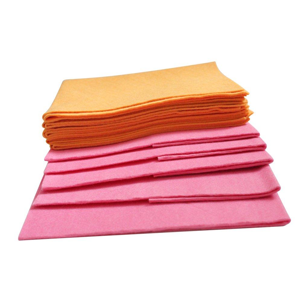 Jebblas Super Chamois Shammy Kitchen Towels Rags Super Absorbent Chamois Cleaning Towel Disposable Bath Mat Pet Bath Towels 5 Large Orange & 5 Medium Pink Reusable Cloth Absorbent Cloth