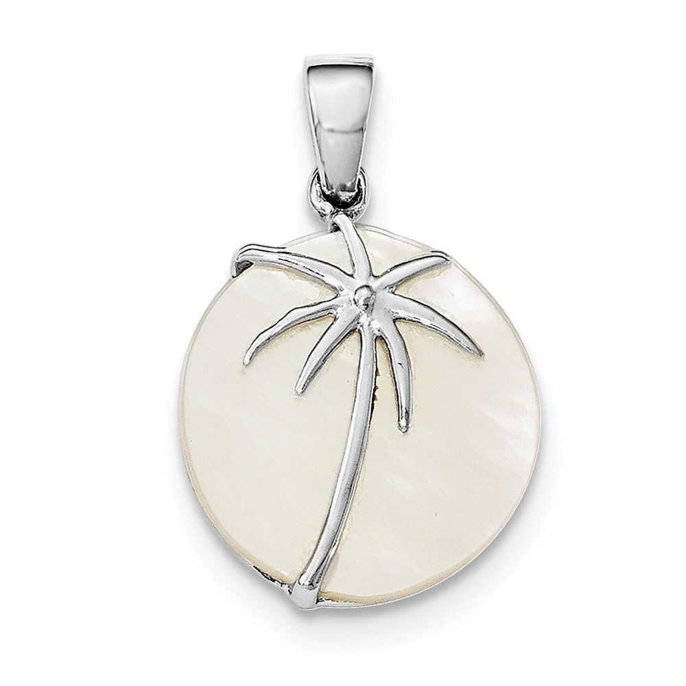 Sterling Silver Rhodium-Plated Polished Synthetic Mop Palm Tree Round Pendant on a Sterling Silver Cable Snake or Ball Chain Necklace