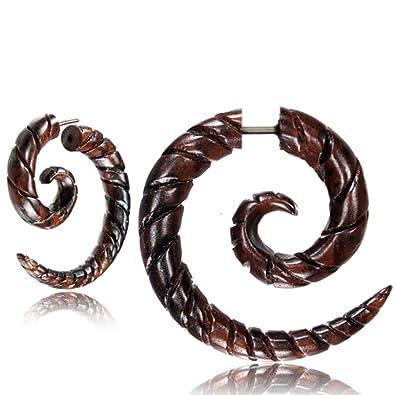 Fake espiral Lóbulo Piercing Acero inoxidable Pendientes dehn Caracol Madera Pendientes Dehner |dehnspirale Unisex Mujeres Hombres |6 mm ranuras de 8 ...