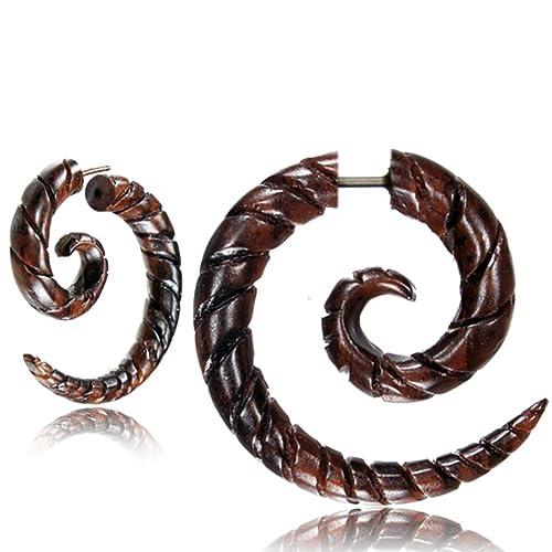 Chic-Net patrón en espiral espiral falso Piercing madera marrón ...