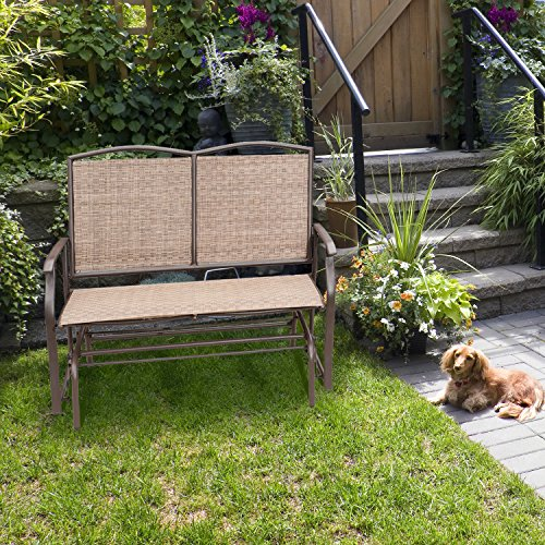 Rocking Loveseats, Gliders Style for Two Person with Rattan Wicker Sturdy Steel Frame,Brown Rattan Glider