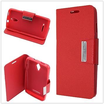Misemiya ® | Funda Vodafone Smart 4 Turbo Libro Cuero Agenda Soporte Rojo: Amazon.es: Electrónica