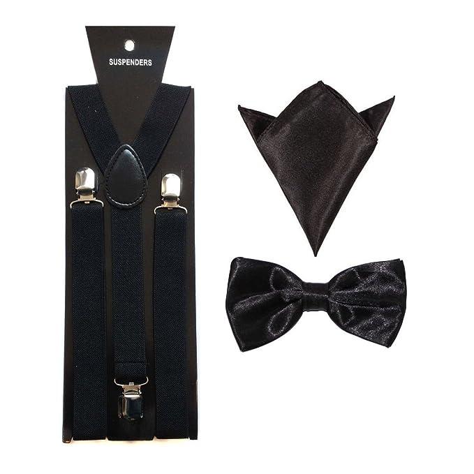2481e2decd72 Men's Suspenders/Braces with Matching Bow Tie & Hanky - Black ...