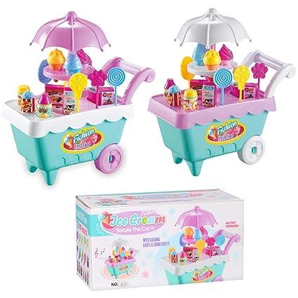 Juguete de helado Go_Believe, helado de caramelo, juego de rol con música, carro
