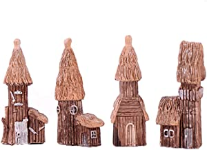 OBTANIM 4 Pack Miniature Fairy Garden Wood House 2 Inch Micro Village House, Thatched Huts DIY Bonsai Terrarium Crafts Desk Ornaments Accessories for Fairy Garden Decoration