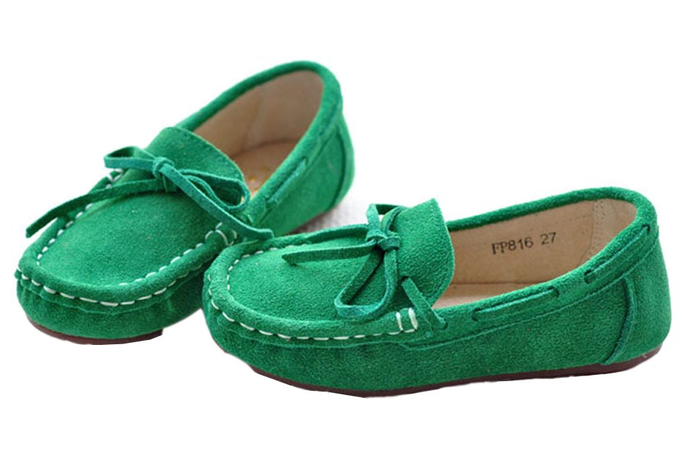 VECJUNIA Girls Soft Suede Bow Dress Loafers Indoor Slippers Oxford Moccasins Green 13 M US Little Kid by VECJUNIA (Image #6)
