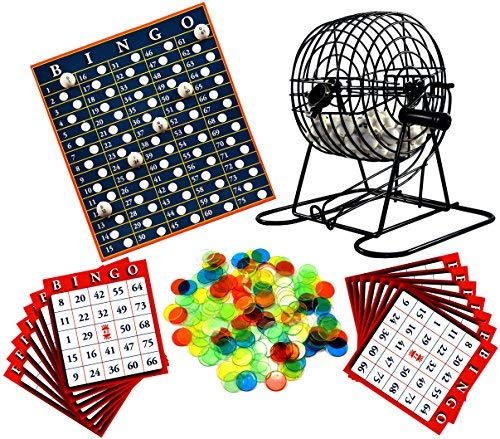 Regal Games Metal 8-Inch Bingo Cage Game with White Bingo Balls, Bingo Chips, and 17 Bingo Cards -