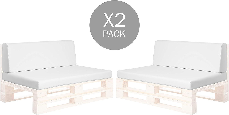 Pack de 2 colchonetas para sofas de palet y respaldo Blanco (2 x Unidades) Cojin relleno con espuma.   Cojines para chill out, interior y exterior, jardin   No incluye palet