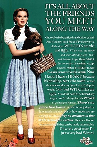 Wizard of Oz Movie Friends you Meet Quotes 36x24 Movie Art P