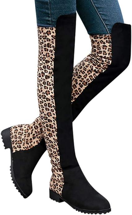 Swiusd Women's Long Tube Boots Leopard