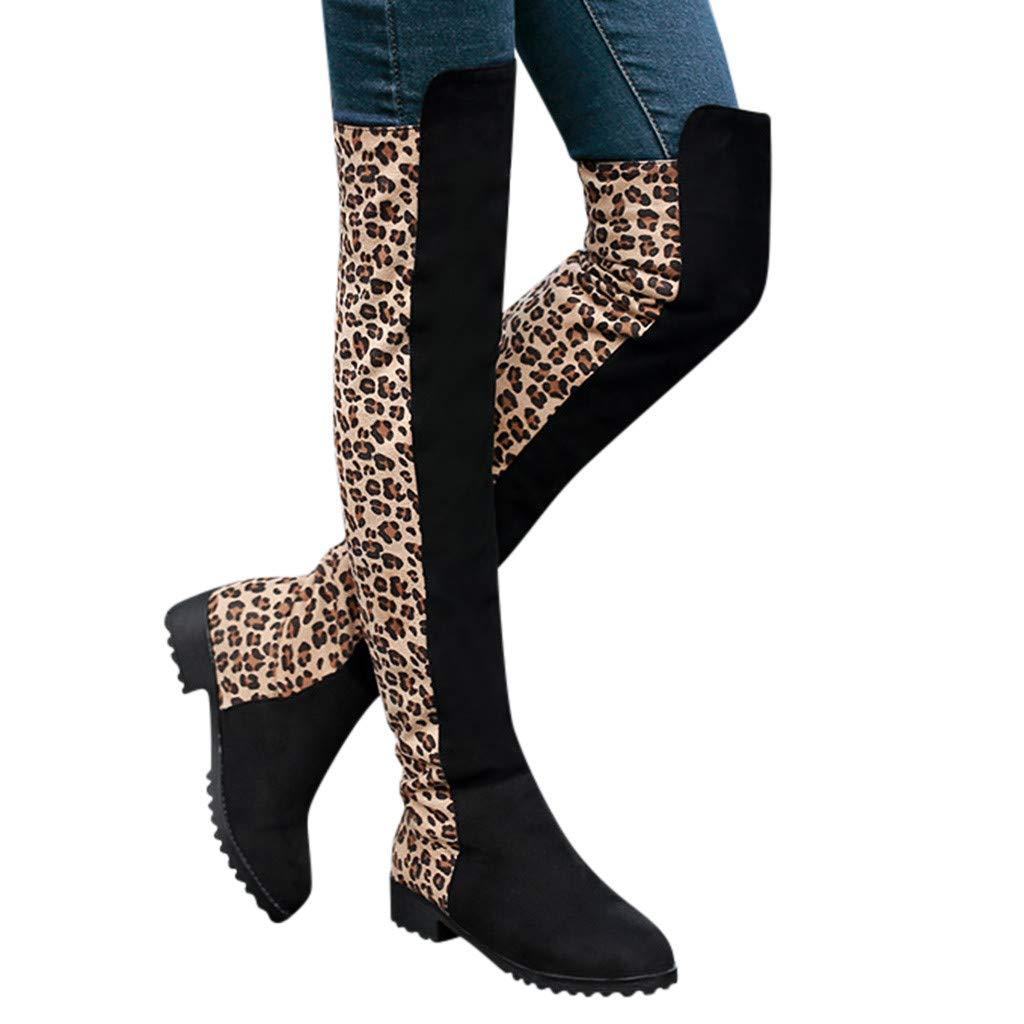 BIKETAFUWY Women's Over The Knee Boots Leopard Pattern Low Heel Boots Folck Leather Punk Warm Knee Length Booties Black by BIKETAFUWY
