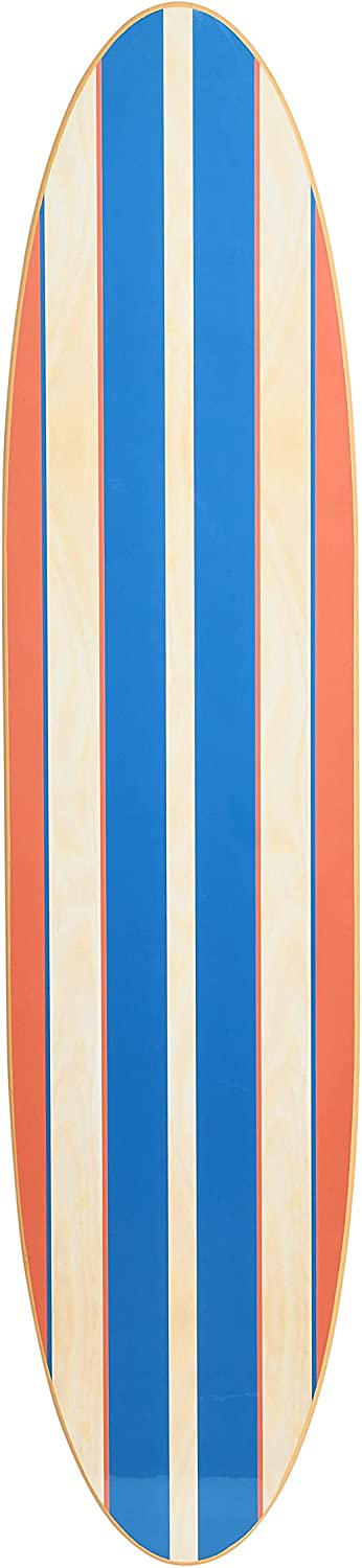 Creative Co-Op Coastal Surfboard Décor for Living Room Contemporary Overlaid Wood Wall Decor, Natural Colored, Red & Blue Stripes